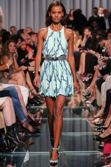runway dress fashion summer dress blue dress sparkly dress