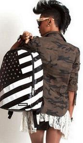bag,america,dope,black and white,skater,sprayground,jacket,camouflage,trendy,leather