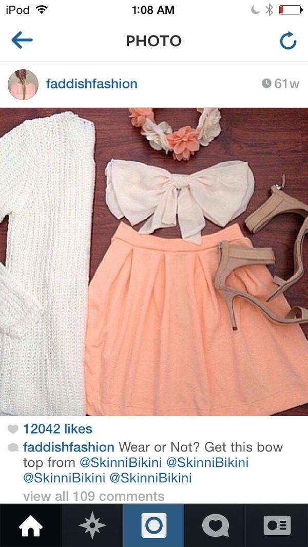 top skirt flower crown heels