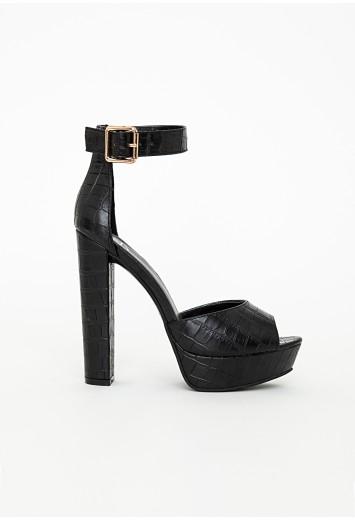 c3d30f6fdc Missguided - Platform Heeled Sandals Black Croc