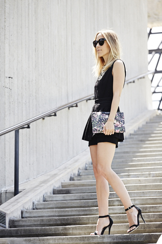 damsel in dior jewels shoes bag printed pouch romper black romper necklace statement necklace sunglasses black sunglasses blogger pouch sandals sandal heels high heel sandals black sandals summer outfits date outfit