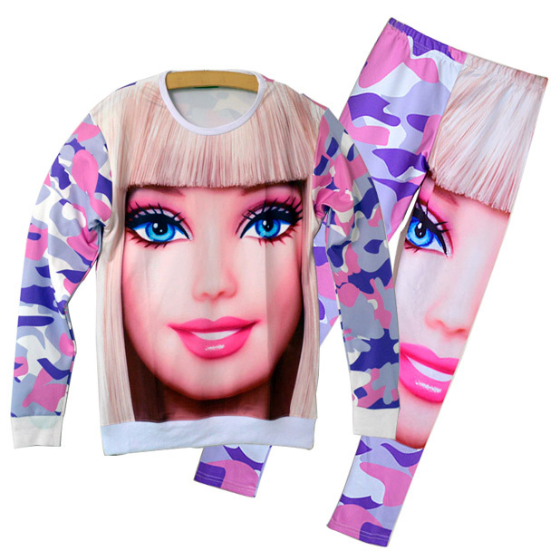 New 2014 fashion women spring tracksuit sportwear 3d camouflage print Barbie Girl sweatshirt   pants clothing set track suits -in Hoodies & Sweatshirts from Apparel & Accessories on Aliexpress.com