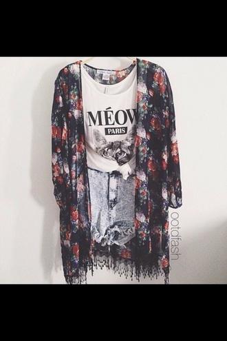 jacket floral meow top cat top kimono denim shorts blue white black denim shorts shoes shirt pants tank top t-shirt