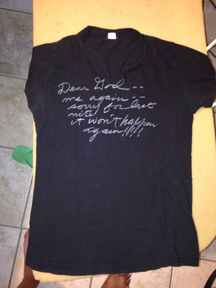 graphic tee quote on it