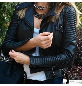 jacket leather jacket biker jacket zipper