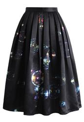 skirt,bubbles shining in dark midi skirt,midi skirt,pleated skirt,chicwish