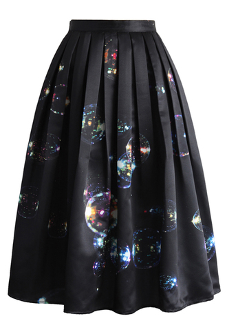 skirt bubbles shining in dark midi skirt midi skirt pleated skirt chicwish