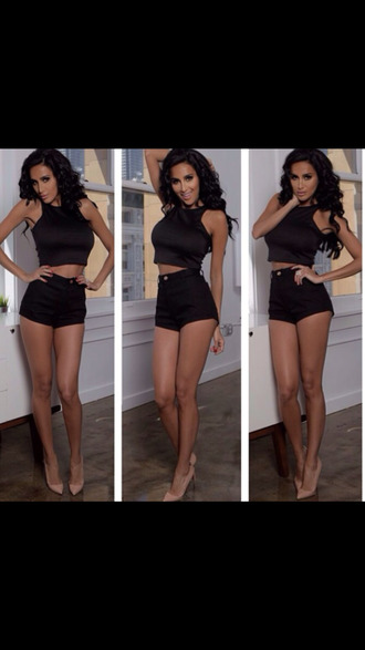 shoes lillyghalichi summer outfits all black everything fashion high waisted shorts crop tops black crop top nude pumps pointed toe heels lilly ghalichi style big hair. clip in. remy girly shorts tank top underwear trendy