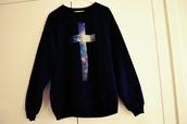 sweater,fashion,galaxy print,hoodie,black,cozy,kawaii,cute,cross,galaxy cross,galaxy sweater,black sweater,galaxy cross sweater,galaxy cross hoodie,cross hoodie,cross sweater,oversized sweater,shirt,blue sweater