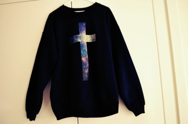 sweater fashion galaxy print hoodie black cozy kawaii cute cross galaxy cross galaxy sweater black sweater galaxy cross sweater galaxy cross hoodie cross hoodie cross sweater oversized sweater shirt blue sweater