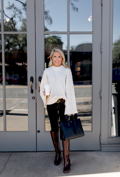 krystal schlegel blogger sweater shoes jeans belt bag knee high boots handbag fall outfits white sweater