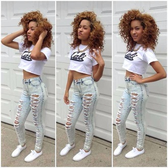 shirt jeans urban ripped jeans acid wash crop tops