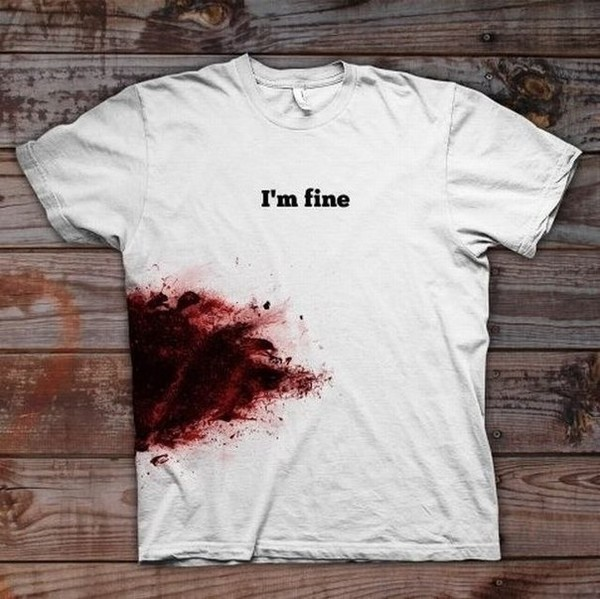 t-shirt blood halloween halloween makeup t-shirt cool brutal vintage shirt trendy quote on it paint splash white t-shirt black shot gun i'm fine white top white