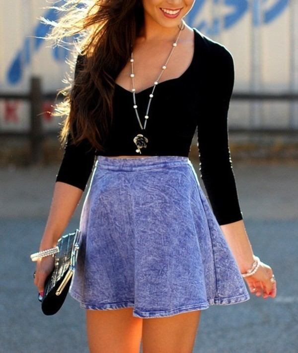 Acid Wash Denim Skirt - Skirts