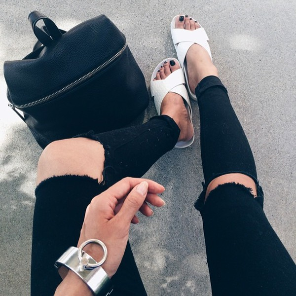 shoes flats white sandals jewels bag black backpack jeans