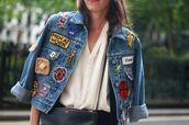 jacket,patch,denim jacket,embellished jacket,embellished denim,badge,skeleton,cross,banana print,quote on it,waffles