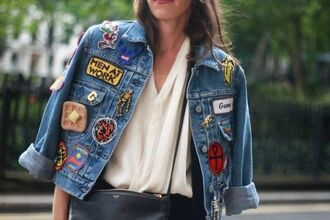 jacket patch denim jacket embellished jacket embellished denim badge skeleton cross banana print quote on it waffles