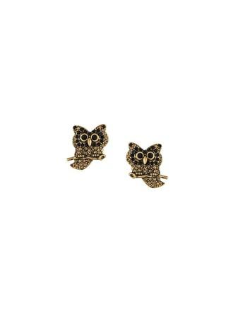 metallic owl women embellished earrings jewels