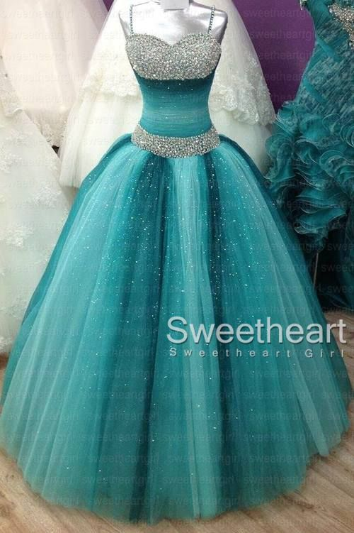Green tulle long prom gown, sweet 16 dress, evening dresses