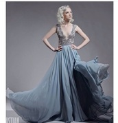 dress,grey,blue,nude,pastel,pastel blue,prom dress,flowy dress,lace,v neck,deep v dress,long dress