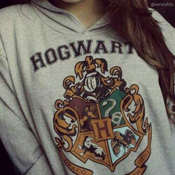 sweater harry potter hogwarts hoodie grey gray jumper