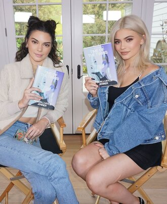 jacket denim jacket kendall and kylie jenner kendall jenner kylie jenner jeans model off-duty book home accessory