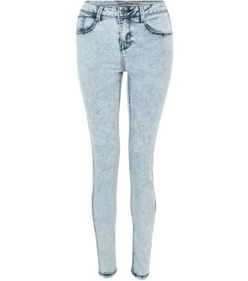 Light Blue Acid Wash Denim Skinny Jeans