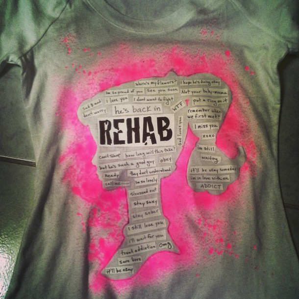 t-shirt rehab barbie pink white t-shirt