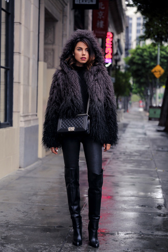 viva luxury blogger fluffy winter jacket black boots hooded jacket black turtleneck top fur jacket black bag chanel leather pants black leather pants black pants boots over the knee boots thigh high boots black fur jacket