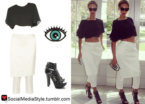 Beyonce's Black Crop Top, Skirt Overlay White Pants, Eye Clutch, and Black Sandals