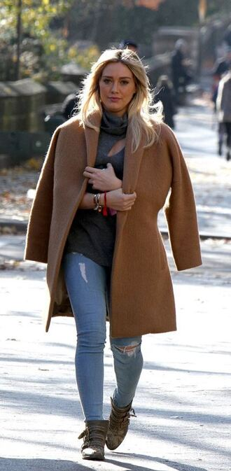 top sweater turtleneck coat hilary duff fall outfits