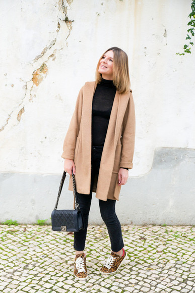 blogger animal print jeans bag jewels the working girl camel coat