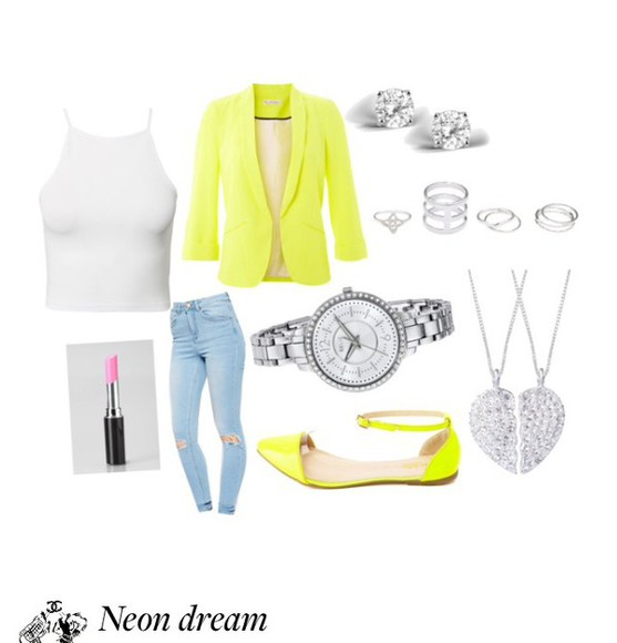 neon neon yellow jacket neon yellow heels neon blazer