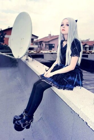 pastel pastel goth dress shoes platform shoes silver blue goth gothic lolita gothic dress cats grunge