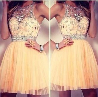 diamonds yellow yellow dress orange dress peach peach dress beads beautiful bralette bra