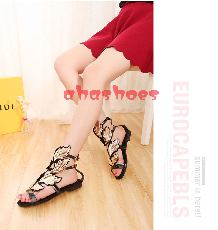 Free Shipping Womens Black Flat Shoes Ankle Strappy Sandals Gold leaves Fashion   eBay