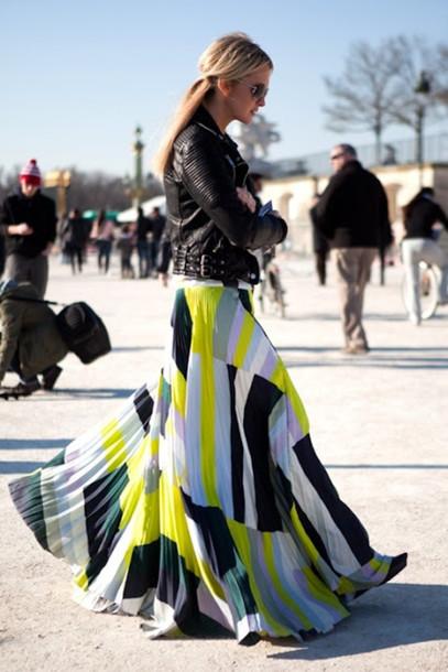 skirt maxi skirt print maxi white long skirt colour block belt colorblock colorful white skirt fashion yellow black pattern jacket