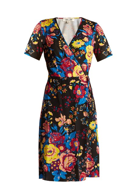 Diane Von Furstenberg dress wrap dress floral print silk black