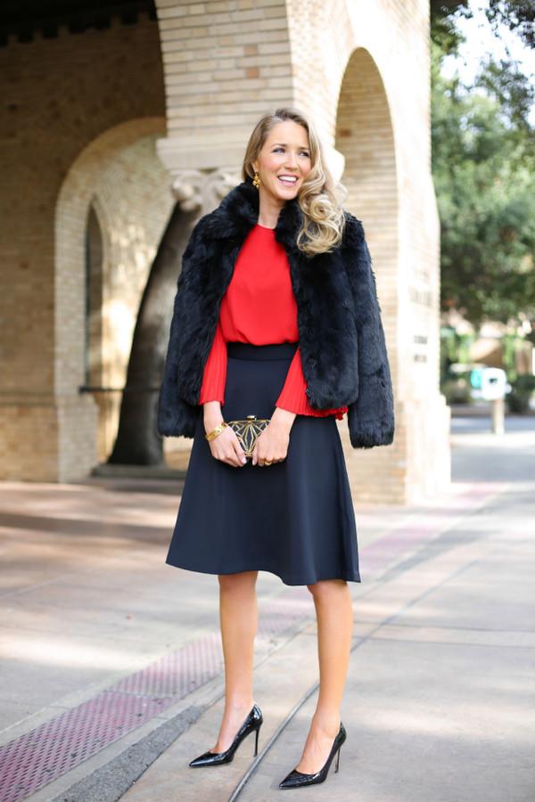 The Classy Cubicle Blogger Blouse Jewels Fur Coat