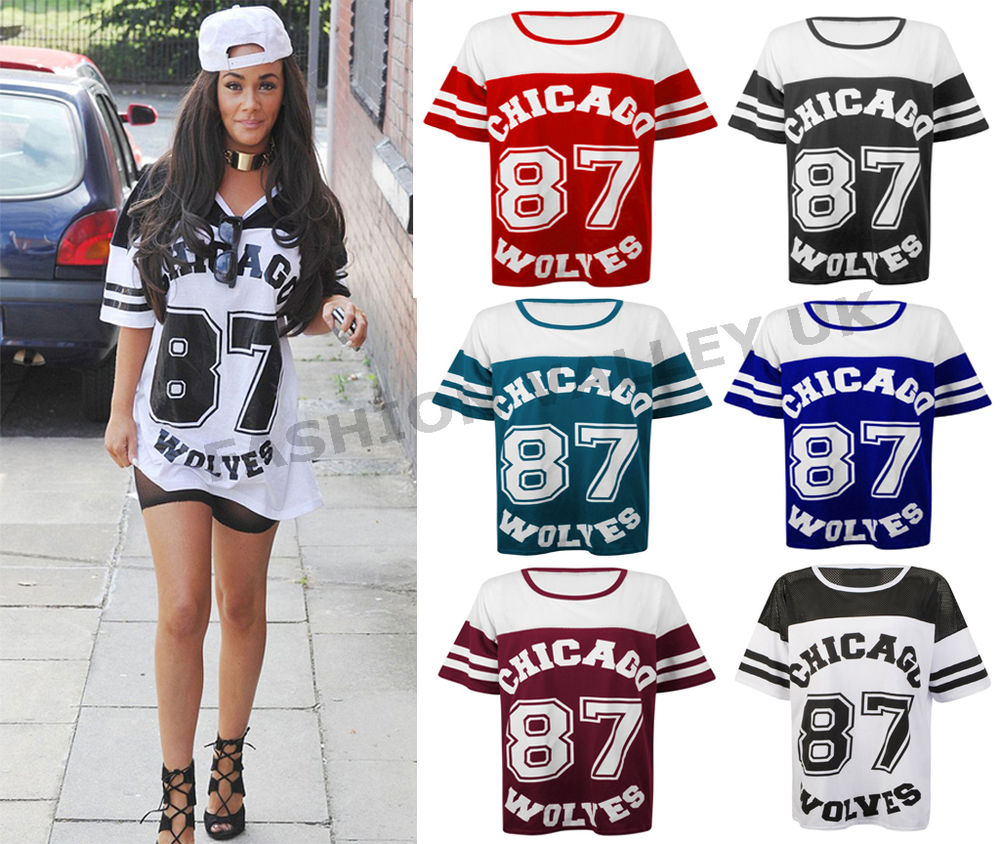 3429bba6ada68 WOMENS CHICAGO 87 WOLVES PRINT VARSITY T SHIRT OVERSIZED LADIES BAGGY TEE  TOP   eBay