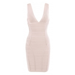 Clothing : Bandage Dresses : 'Jenna' Nude V Neck Bandage Dress