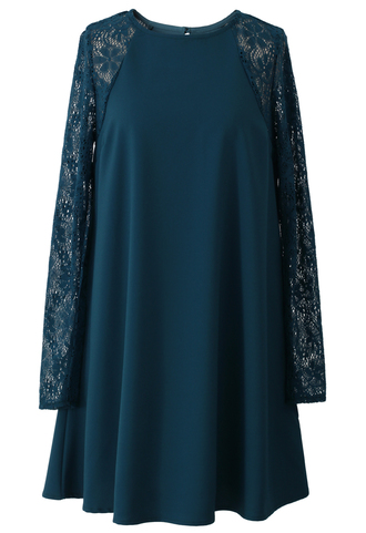 dress relaxed lace crepe panel turquoise