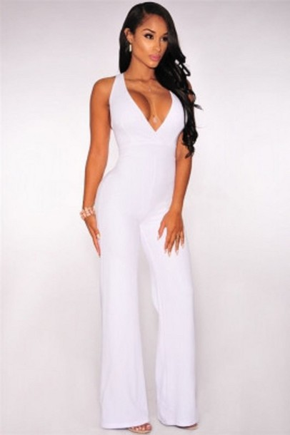 Jumpsuit: white, classy, cute, wots-hot-right-now, white jumpsuit ...