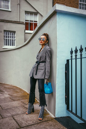 not jess fashion blogger jacket pants shoes bag sunglasses ankle boots boots peep toe boots grey jacket blazer blue bag fall outfits