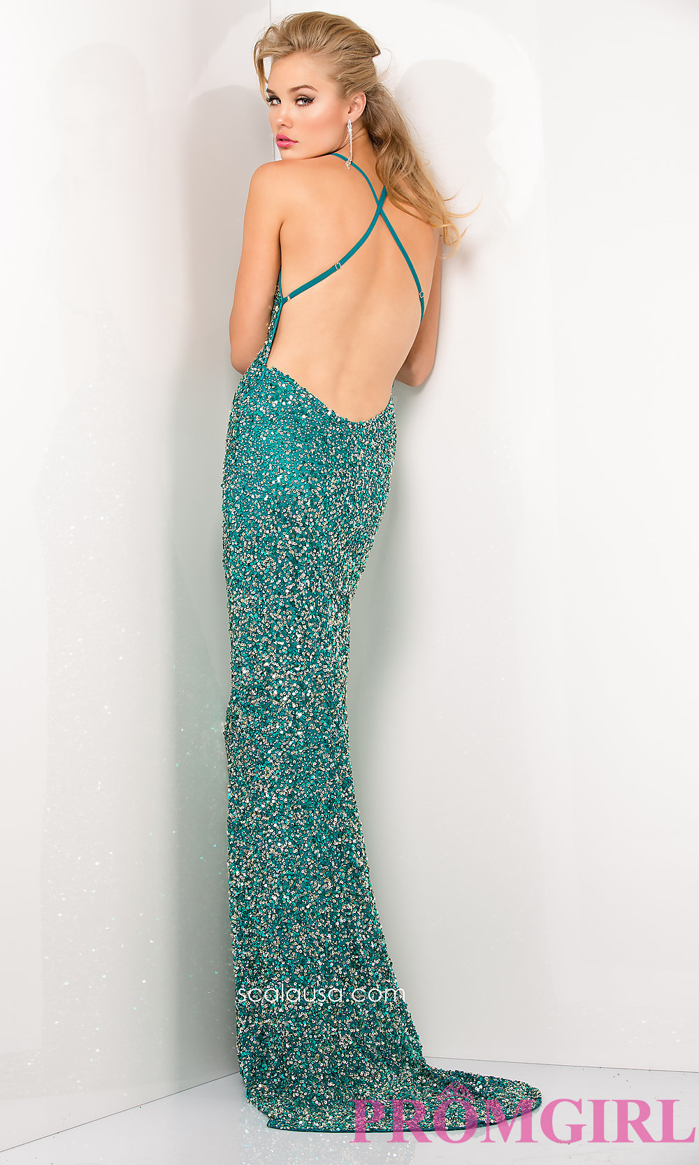 Neck sequin dress with open back by scala
