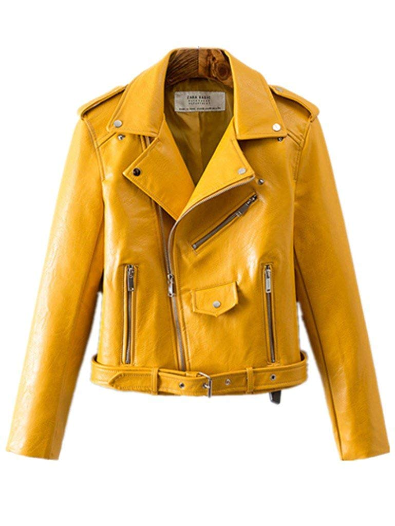 Women's Trendy Stand Collar PU Leather Moto Jacket Leather Coat at Amazon Women's Coats Shop