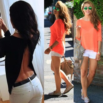blouse fashion backless chiffon orange black sexy b sexy sexy blouse summer loose half sleeveless half shirt