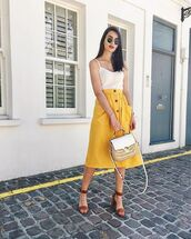 skirt,yellow skirt,midi skirt,top,white top,bag,shoes