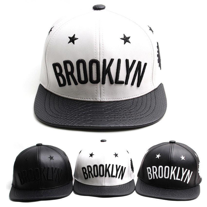New mens womens faux leather brooklyn buckle strapback adjustable baseball hats