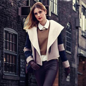 coat jacket wide lapel wool turndown collar